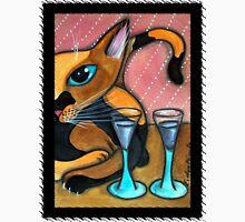 Romancing Cat and Wine Glasses Unisex T-Shirt