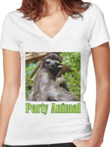 Party Animal - The Sloth Women's Fitted V-Neck T-Shirt