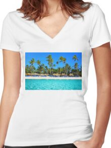 Postcard from Punta Cana, The Dominican Republic Women's Fitted V-Neck T-Shirt