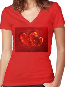 Two red hearts Women's Fitted V-Neck T-Shirt
