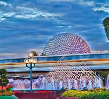 Monorail Yellow: Blurs past Spaceship Earth by jjacobs2286
