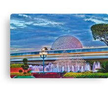 Monorail Yellow: Blurs past Spaceship Earth Canvas Print
