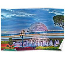 Monorail Yellow: Blurs past Spaceship Earth Poster