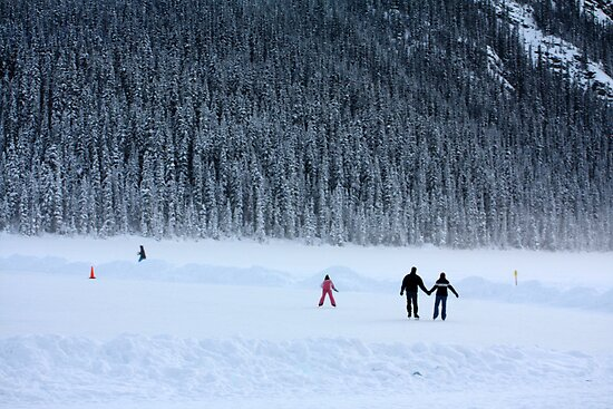 Skating on Lake Louise by Alyce Taylor
