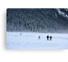 Skating on Lake Louise Canvas Print