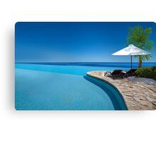 Postcard from Anse Lazio beach at Praslin island, Seychelles Canvas Print