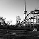 Cyclone and Wonder Wheel from Subway Bridge b/w by SylviaS