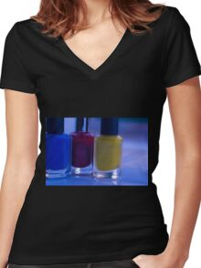 Close up of blue, red and yellow nail polish Women's Fitted V-Neck T-Shirt