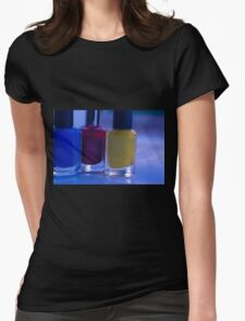 Close up of blue, red and yellow nail polish Womens Fitted T-Shirt