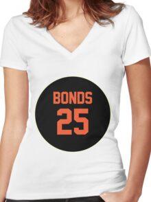 San Francisco Giants Barry Bonds #25 back Women's Fitted V-Neck T-Shirt