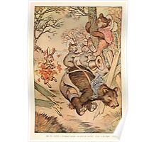 Night with Uncle Remus by Joel Chandler Harris art Milo Winter 1917 0041 Bear Destroys Fence Panel Poster
