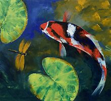 Showa Koi and Dragonfly by Michael Creese