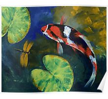 Showa Koi and Dragonfly Poster