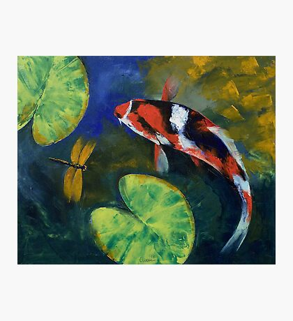 Showa Koi and Dragonfly Photographic Print