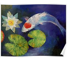 Tancho Koi and Water Lily Poster