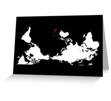 Upside Down World Map New Zealand Greeting Card