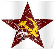 Red star hammer and sickle rusty revolution Poster