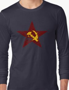 Red star hammer and sickle rusty revolution Long Sleeve T-Shirt