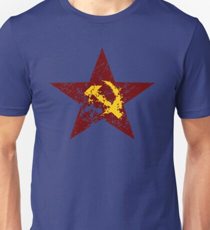 Red star hammer and sickle rusty revolution Unisex T-Shirt