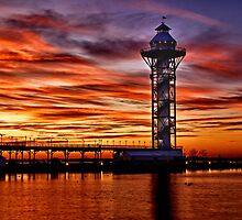 Sunset at Dobbins Landing - Erie, PA by Kathy Weaver
