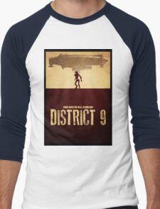 DISTRICT 9 - Minimal Silhouette Design Men's Baseball ¾ T-Shirt