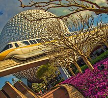 Monorail Passing in front of Spaceship Earth at Epcot by jjacobs2286