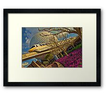 Monorail Passing in front of Spaceship Earth at Epcot Framed Print