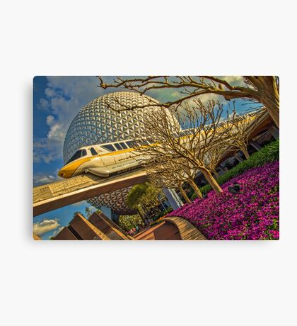 Monorail Passing in front of Spaceship Earth at Epcot Canvas Print