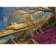 Monorail Passing in front of Spaceship Earth at Epcot Photographic Print