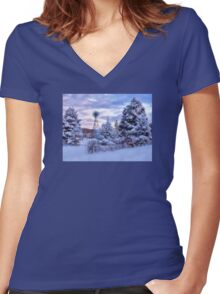 Windmill In the Snow - Erie, PA Women's Fitted V-Neck T-Shirt