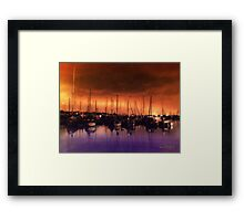 San Diego Harbor Midnight Moon Framed Print