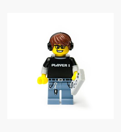 Player 1 Gamer Kid Minifig Photographic Print