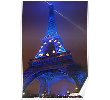 The Eiffel Tower in Blue, Paris, France  Poster