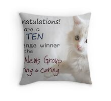 Top Ten Banner for the Good News Group ~Sharing and Caring Throw Pillow
