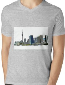 Toronto Skyline Graphic with CN Tower Mens V-Neck T-Shirt