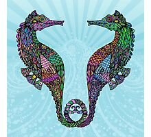 Electric Psychedelic Seahorses Photographic Print