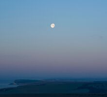 (Almost) full moon over the Sussex Downs towards Birling Gap by Karen Adams