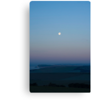(Almost) full moon over the Sussex Downs towards Birling Gap Canvas Print