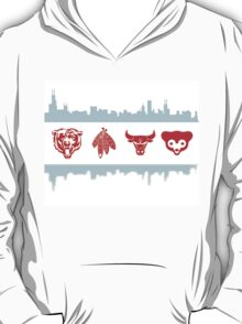 Chicago Flag with Teams and Skyline T-Shirt