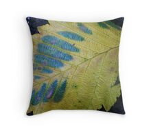 Fallen Leaf in Blue and Green Throw Pillow