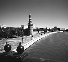 Moscow River and Kremlin by Gordon Lukesh