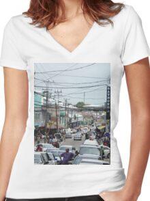 a vast Trinidad and Tobago landscape Women's Fitted V-Neck T-Shirt