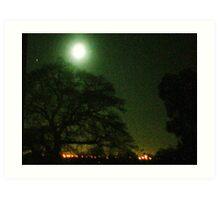 Moon over Lytchett Minster Art Print