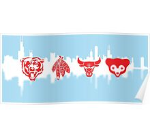 Chicago Flag with Teams and Skyline 2 Poster
