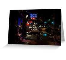 Christmas and Neon--Snowy Sidewalk in TriBeCa Greeting Card