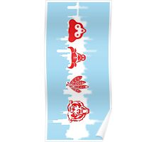 Chicago Flag with Teams Vertical 2 Poster