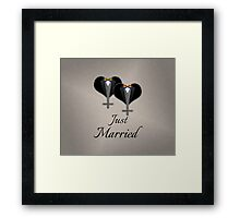 Just Married Tuxedo Hearts Bow Tie Framed Print