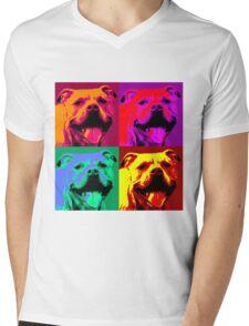 Pit Bull Pop Art Mens V-Neck T-Shirt