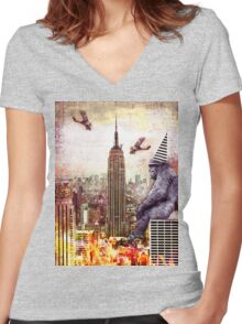 Vintage Kong Women's Fitted V-Neck T-Shirt