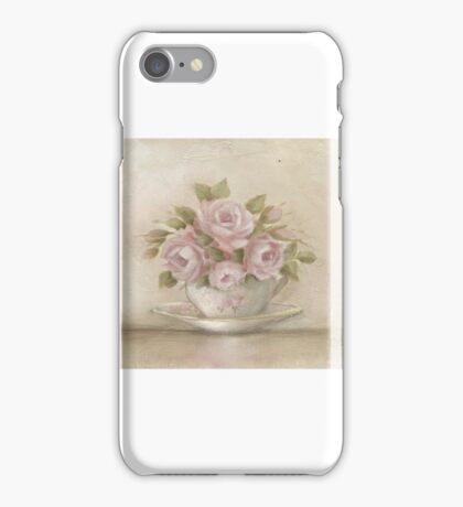 Shabby Chic Cup And Saucer Roses iPhone Case/Skin